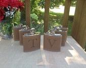 Groomsmen Gift Set of 6 Liquor Flasks - Laser Engraved Name - Brown Leather Flask  -  6oz Flask - Christmas Gift - Wedding Gift