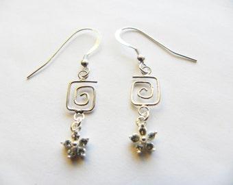 Silver crystal earrings - floral earrings - abstract sterling silver earrings, crystal drop earrimgs, romantic silver earrings