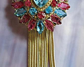 Glass Heart Tassles Vintage Brooch, Original by Robert signed, Pastel Blue Pink Open Stones, Long Gold Tassle Fringe Chains