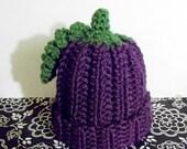 Purple Grape Baby Beanie, Blackberry Baby Beanie, Eggplant Baby Beanie, Fruit Beanie