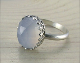 Chalcedony ring - natural blue set in sterling silver