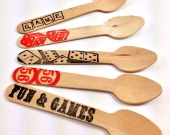 Fun & Games Print SMALL Wooden Ice Cream Spoons - 12 Spoons - Game night, trivia night, Bunco, Carnival Party