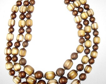 Vintage Coro Bead Necklace, Triple Strand Beads Rootbeer Brown Tones, Marbled Beads, fashion jewelry, bead necklace, chunky beads