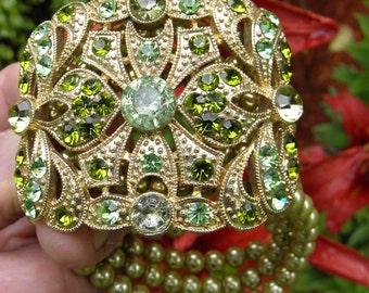 Vintage Huge Faux Pearl, Green Rhinestone Gold Bracelet - 1970's - from DustyMillerAntiques