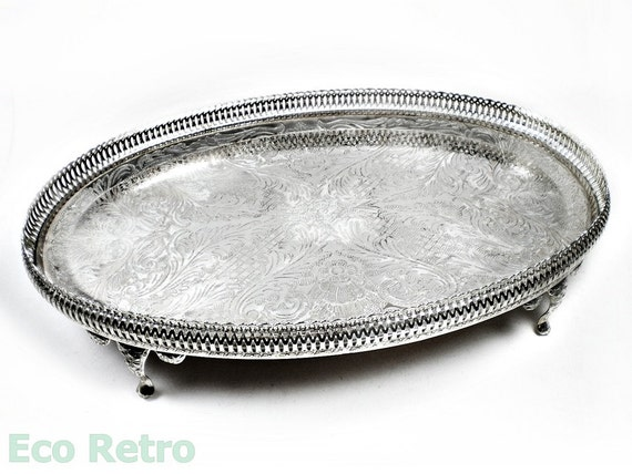 Vintage Etched Oval Silver Plated Pierced Gallery Tray with Cabriole legs