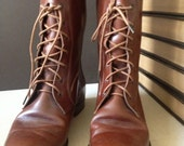Vtg Italy // Ralph Lauren // Chestnut Brown Leather Riding Boots // Size 7 US