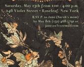 Printable Party Invitation - 5 x 7 - Fairy Gathering - Faerie Tale Storybook Vintage Elf Illustration - Black Peach Orange Mint Ivory