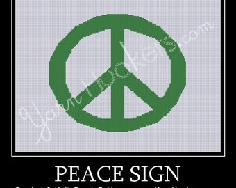 Peace Sign - Afghan Crochet Graph Pattern Chart - Instant Download