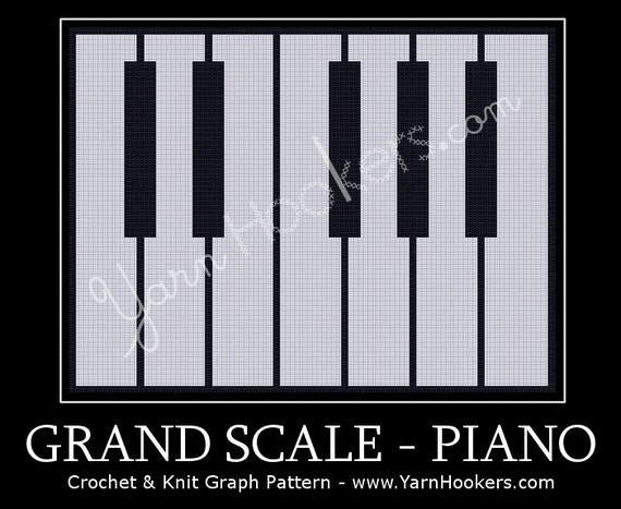 Crochet Pattern For Piano Afghan : Grand Scale Piano Afghan Crochet Graph Pattern Chart