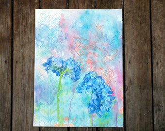 Blue Hydrangeas in Summer