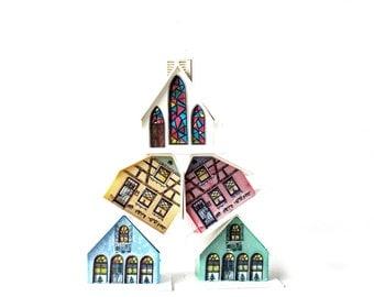 Colorful Retro Christmas Village