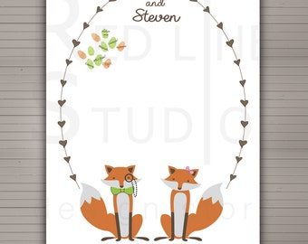 Wedding Guest Book Alternative - up to 250 signatures - woodland fox themed - Printable