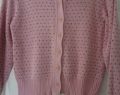80s Preppy Pink Navy Blue Hearts Cotton Cardigan Super Soft Sweater Size Medium