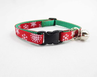 Red Snowflakes Cat Collar