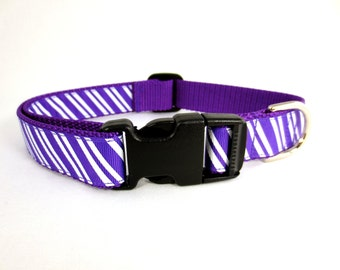 Medium Purple Stripes Dog Collar