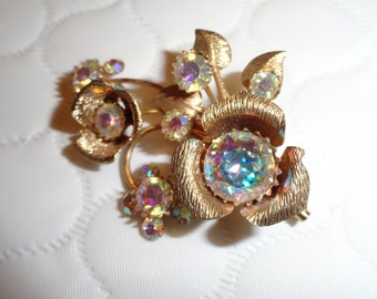 Vintage 40s Iridescent Rhinestone, Crystal, and Goldtone Pin and Earring Set with Screw Type Backs