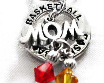Personalized, Basketball Necklace,Team Colors,Swarovski Necklace,Basketball Jewelry,Coach, Basketball Gift,National Champion,(Made to Order)