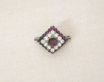 Victorian Purple and Clear Rhinestone Pin set in Brass c1890 Vintage