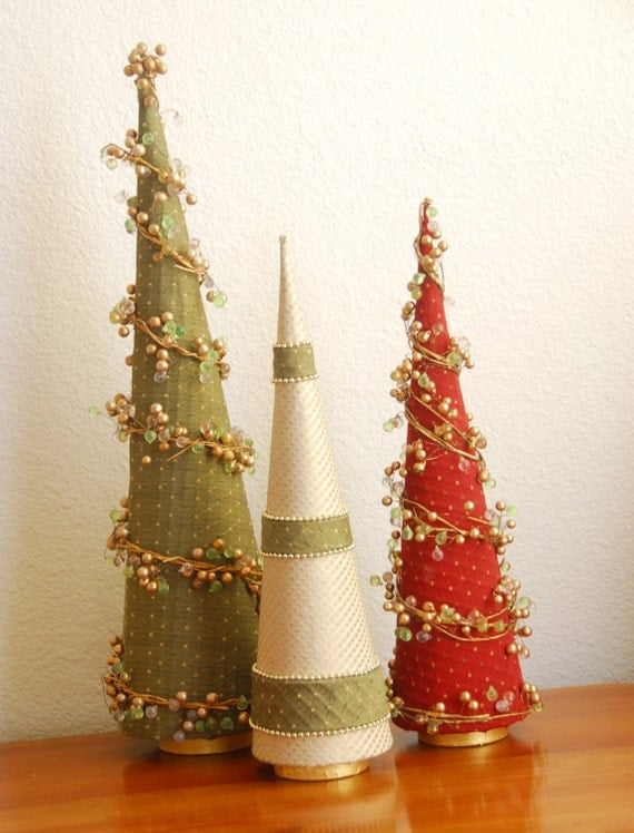 Christmas tree holiday decorations tall slender cone style