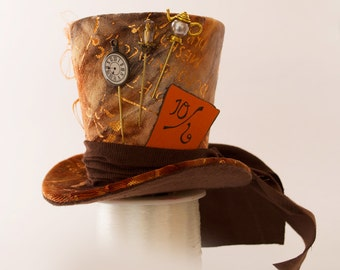 Mad Hatter, Burlesque, Steampunk, Victorian, Show Girl, Bachelorette, Cosplay, Orange and Brown Mini Top Hat