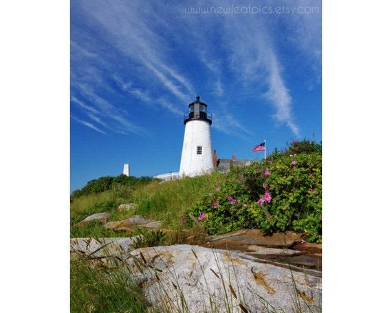 Pemaquid Point Lighthouse photo, Maine coastal wall art, beach art lighthouse print