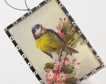 Bird Night Light - Vintage Image Nightlight - Blue Yellow Bird Wall Light - Nursery Night Light - Home Accessory N10