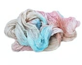 Tender of Coral Reef -  turquoise, blue, coral, pink  silk ruffled scarf.