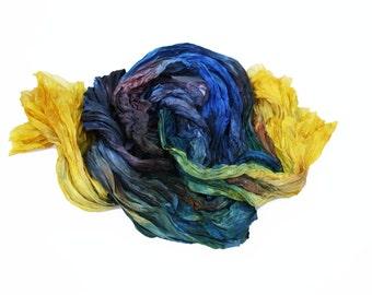 blue silk scarf - Byzantine Sky - olive, yellow, purple, grey, brown, yellow silk scarf.