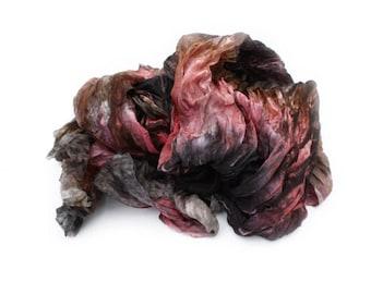 silk scarf - Rosehill Kingdom - black, brown, pink silk ruffled scarf.