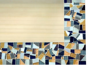 Large Mosaic Mirror in Navy Blue, Gray, and Beige
