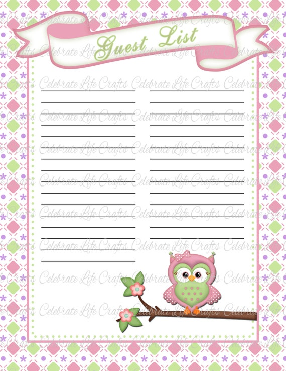 Baby Shower Guest List - Printable Baby Shower Party Decorations ...