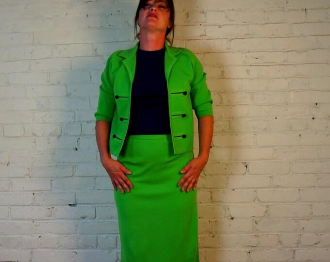 Jackie Kennedy Suit 1960s Vintage Secretary Outfit MEDIUM Bright Green & Blue Knit Coordinates Skirt Bolero Jacket Shirt Italian Pavilion