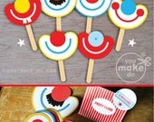 INSTANT DOWNLOAD photo booth props, photo props, circus party, circus party favors, carnival party, carnival party favors, party printables