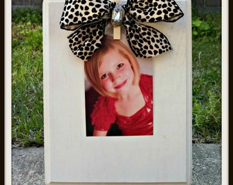 Wooden Clothespin Frame - shabby chic - country - cheetah - leopard bow