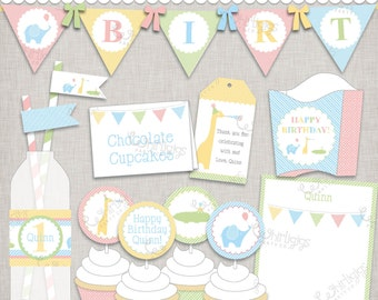 "Birthday Party Printable Party Collection ""Party Animals"" Zoo Pastel Jungle"