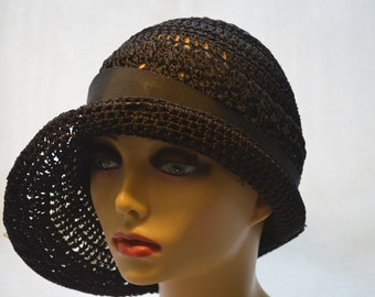 Gatsby Style Cloche 1920s Black Flapper Crochet Hat with Asymetrial Brim