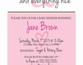 Sugar & Spice Baby Shower Invitation, Pink and Brown - Printable JPG File
