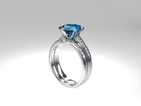 Swiss blue topaz engagement ring set diamond wedding ring for Blue topaz wedding ring sets