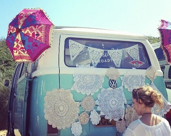 Decorative lace bunting, as seen on freepeople camper in Cornwall, dorm decor party decorations