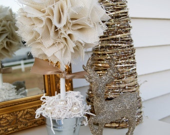 White burlap topiary winter wedding centerpiece winter wedding