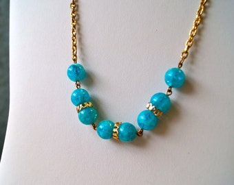 Turquoise Beaded Gold Chain Necklace