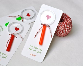 """Magnifying Glass """"I've Had My Eye On You"""" Valentine's Card - Toy Magnifying Glass, Card, Red and White Baker's Twine"""