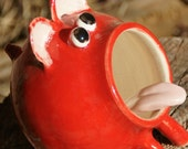 Eric - Red Ceramic Salt Pig, Hand Thrown Stoneware Pottery - muddywaterscc