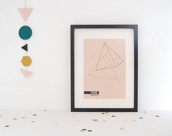 Geometric Print A4 Tetrahedron Collection #1 Pink