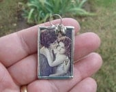 Soldered Glass Art Pendant Mother and Daughter Pendant With Two Tiny Silver Heart Charms