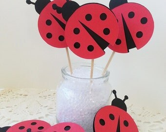 Lady Bug Cupcake Toppers - Assorted Colors and Quantities Available - Birthday Party -  Garden Party - Bridal Shower - Baby Shower
