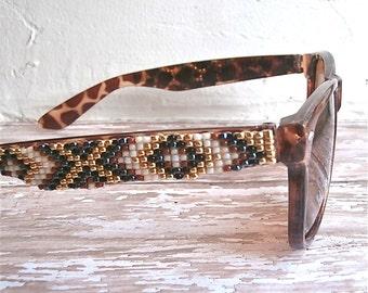 Brown Native American Beaded Sunglasses