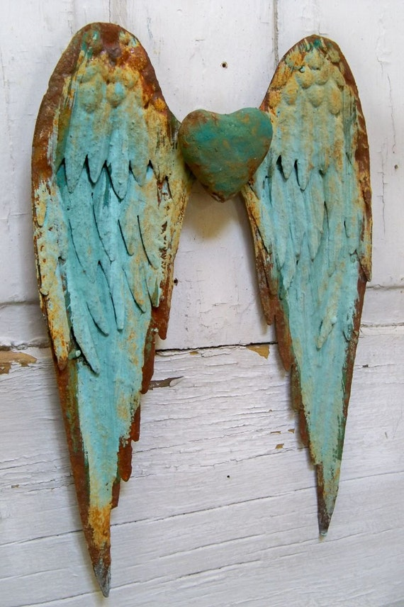 Metal Wall Wings With Heart Robins Egg Blue Rusty Distressed