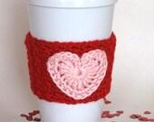 Crocheted Valentine Heart Coffee Cup Cozy Handmade