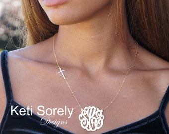 Monogram Necklace With Cross - Personalized Celebrity Style Sideways Cross Necklace - Sterling Silver, Yellow or Rose Gold